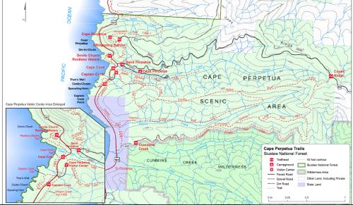 Trailmap for Cape Perpetua Scenic Area